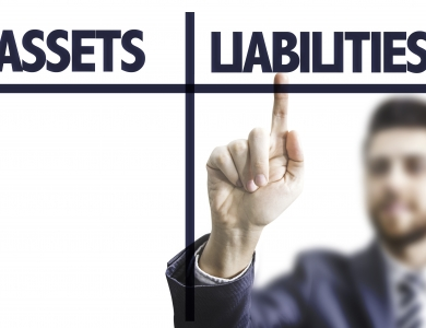 Man Pointing at assets, liabilities, equity